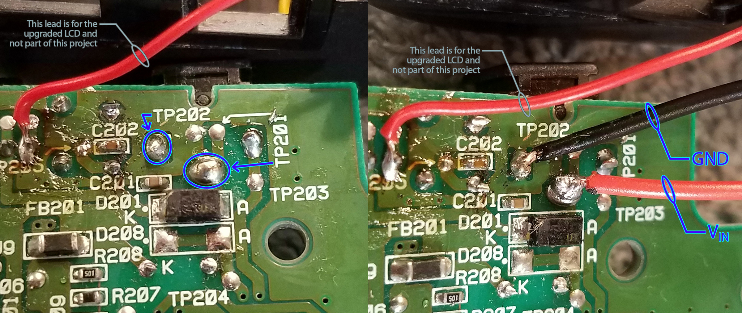 Next I connected the B & B wires from the charging board to the Nomad s original battery terminals on the rear circuit board